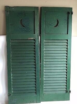 2 Pair Antique Crescent Moon Louvered Shutters  Shabby Cottage Vintage Green B