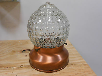 Vintage Copper Porch Light Fixture Glass Globe Antique 50s-70s Ceiling Knobby