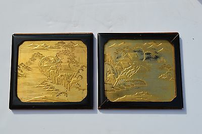 2 Beautiful Antique Chinese/japanese Gold Gilded Carved Cabinet Door Panels
