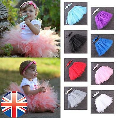 *UK Seller* Baby Newborn toddler Tutu Skirt And Bow Set Dress Birthday 3-12 mths