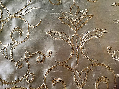 Gold Shantung Fabric  w/ Over-Embroidery in Gold  1 1/2  Yds  W 58""