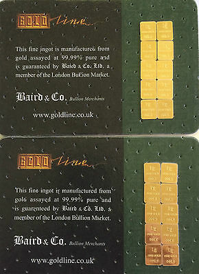 1 gram bullion bar baird & co   24 ct gold  .999  1 gm bars