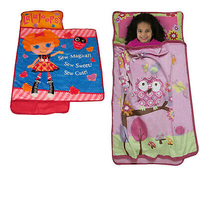 nEw CHILDRENS NAP MAT - Kids Characters Sleep Over Toddler Blanket Pillow Roll
