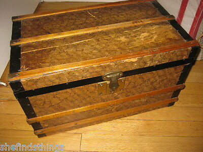 """Antique Victorian 18"""" Wooden Doll Child's Trunk Flat Top Rustic Treasure Chest"""