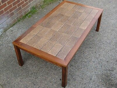 Large 1960s vintage Danish ceramic tile top rosewood retro coffee side table