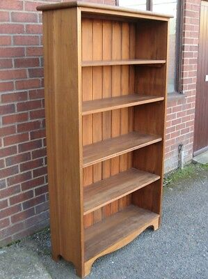 Victorian antique country style solid pine & walnut large library open bookcase