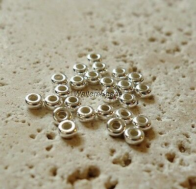 Tiny Rondelle Wheel  Spacer Beads 3 MM Size Sterling Silver 925 (30 Beads)