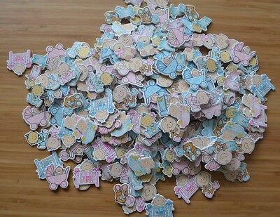 341 x Large WOODEN EMBELLISHMENTS - Baby Themed