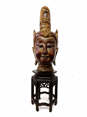 Antique Asian Thai Style Goddess Head Statue Wood Indra Hindu / Buddhism