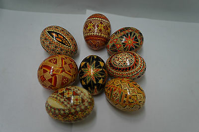 Hand Painted Pysanky Eggs Lot of 8
