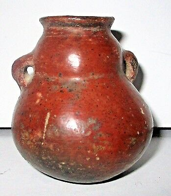 Pre-Columbian Pottery Small Double Handled Urn Pot Vessel Unusual Form Shape