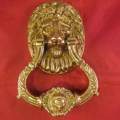 VTG Antique Lions Head Brass Door Knocker 6.75""