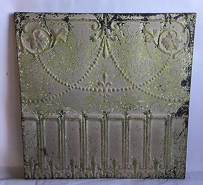 23 x 23 Antique Tin Ceiling Tile Taupe Green Wrapped Wall Art C7 Reclaimed