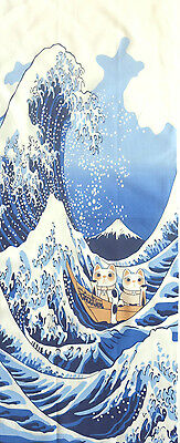 Japanese Tenugui Cotton Cloth The Great Wave Lucky Cat Towel Gift TB89