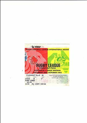 1992 WORLD CUP FINAL  - AUSTRALIA vs GREAT BRITAIN   -  used ticket.