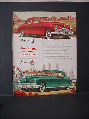 1947 Kaiser Frazer Full Page Color Car Automobile Vintage Print Ad 11682