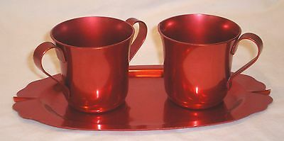Vintage Color Craft Red Metal Creamer & Sugar on Tray EUC VERY NICE