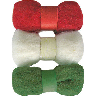 """Feltworks Roving Trio Pack 1.58oz-Red, White & Green"""