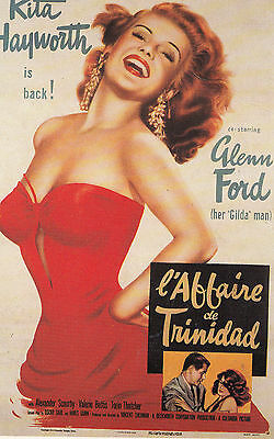 Rita Hayworth L'Affaire De Trinidad Film Cinema Poster Art Rare French Postcard