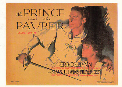 The Prince & The Pauper Errol Flynn Mark Twain Film Cinema Poster Art Postcard