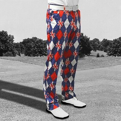 Royal & Awesome Pantalon Golf Trew Britannique,Pars & Rayures W 30 44