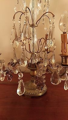 Gorgeous Antique French Bronze & Cut Glass Candelabra