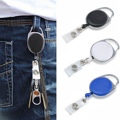 Retractable Belt Holder Key Holder Reel Recoil Keyring ID Badge Card Belt New