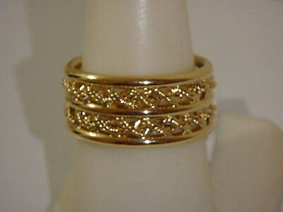 14K Eterna Gold Yellow Rope & Polished Band Ring New 6 7 8