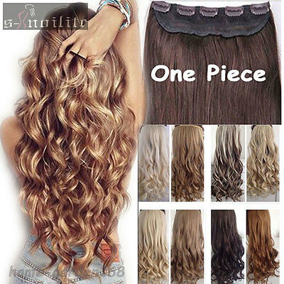 New Long Mega Thick Straight Curly Real Half Full Head Clip in Hair Extensions