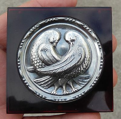 Vintage Mid Century Sterling Silver & Lucite Ladies Compact W/Love Birds