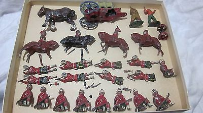 Large Lot Lead Toy Scottish Regimental Soldiers Covered Wagon Clydesdale Horse