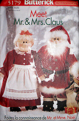 Butterick Soft Sculpture Mr. & Mrs. Santa Claus Doll and Clothes Pattern 5179 UC