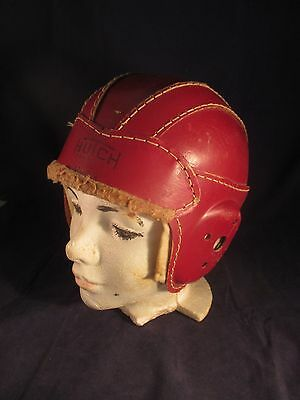 OLD LEATHER FOOTBALL HELMET HUTCH H-03 RED VINTAGE 1930's CHILD SPORTS EQUIPMENT