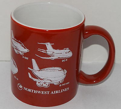 """Northwest Airlines Coffee mug Red & White Airplanes cup 3 3/4"""""""