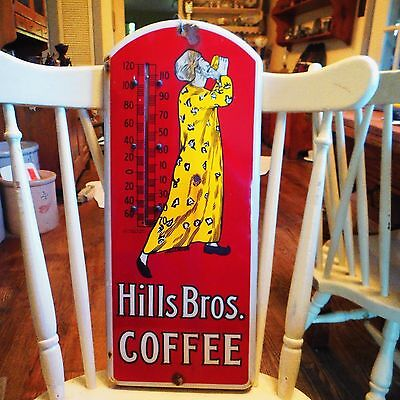 Vintage HILLS BROS. COFFEE Porcelain Thermometer Advertising Sign 1930's