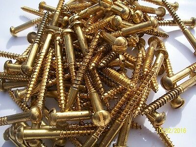 "30 - 2"" Long, Round Head, ""brass"", Slotted Wood Screws"