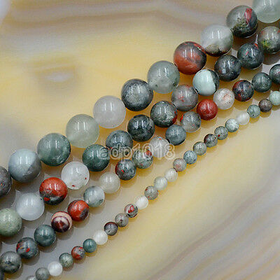 """Natural Bloodstone Gemstone Round Loose Beads 15.5"""" 4mm 6mm 8mm 10mm 12mm"""
