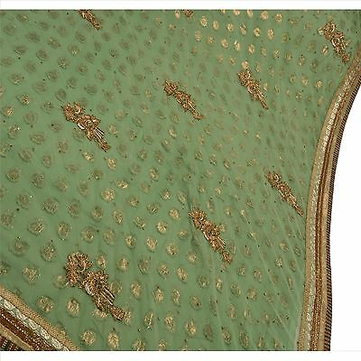 Vintage Indian Saree Net Mesh Hand Beaded Green Fabric Ethnic Sari Zardozi Galss
