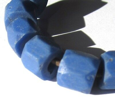 10 Rare Hand Faceted Old Periwinkle Russian Blue Antique Beads African Trade