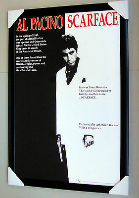 Scarface framed poster AL PACINO Black timber with glass Ready to hang Cover