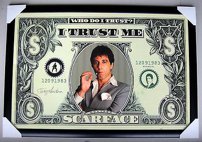 scarface framed poster dollor bill Black timber & glass Ready to hang Al PACINO