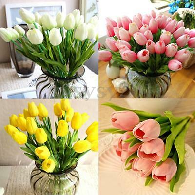 1/10pcs Artificielle PU Tulipes Fleur Bouquet Maison mariage Décoration UK