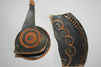2 ANCIENT GREEK POTTERY RED FIGURE SHARDS 4th CENTURY BC