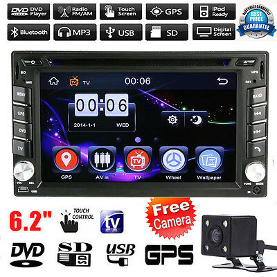 GPS Navigation 2 Din HD Car Stereo DVD CD Player Radio iPod TV Bluetooth +Camera