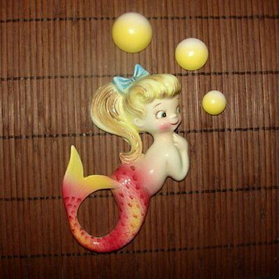 1950s Vintage PY LEFTON MERMAID Fish Girl Ceramic Wall Plaque Hanging