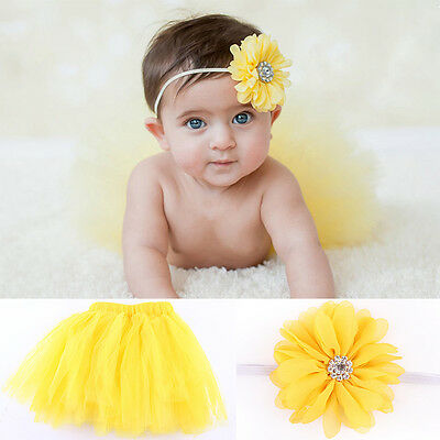 Infant Reborn Baby Girl Flower Headband Tutu Skirt Costume Outfit Set Prop hot
