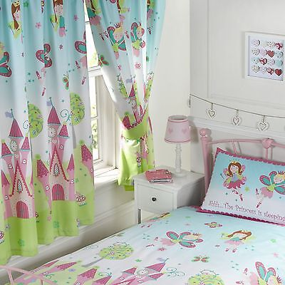 "FAIRY PRINCESS 'SLEEPING' 66"" x 72"" LINED CURTAINS NEW & TIE-BACKS matches duvet"