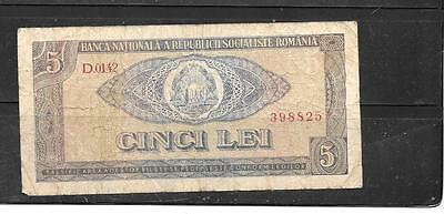 ROMANIA #93a 1966 VG USED OLD VINTAGE 5 LEI BANKNOTE BILL NOTE PAPER MONEY
