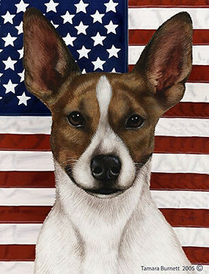 Garden Indoor/Outdoor Patriotic II Flag - Brown & White Rat Terrier 321301