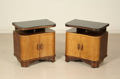 Two Bedside Tables Burl Veneer Rosewood Back-Painted Glass Vintage Italy 1930s